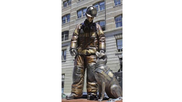 The national fire dog monument depicting a firefighter and an arson dog is on a 12-city tour sponsored by the American Humane Association.