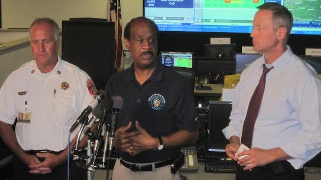 From right to left: Montgomery County fire chief Richard Bowers, County Executive Isiah Leggett, and Gov. Martin O'Malley discuss the latest on storm restoration efforts at the county emergency operations center in Gaithersburg, Md.