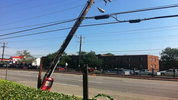 A power line dips down in Maryland after the June 29 storm that left millions without power in the mid-Atlantic region.