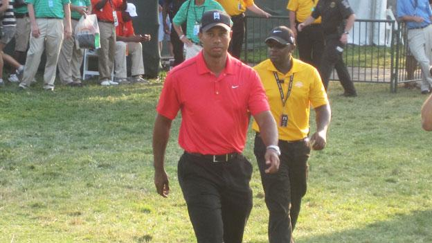 Tiger Woods and Bo Van Pelt were shot for shot down at the ninth hole and remained close for most of the round.