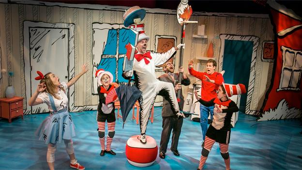 The cast of Adventure Theatre MTC's The Cat in the Hat brings Dr. Seuss' classic story of tomfoolery from the page to the stage.