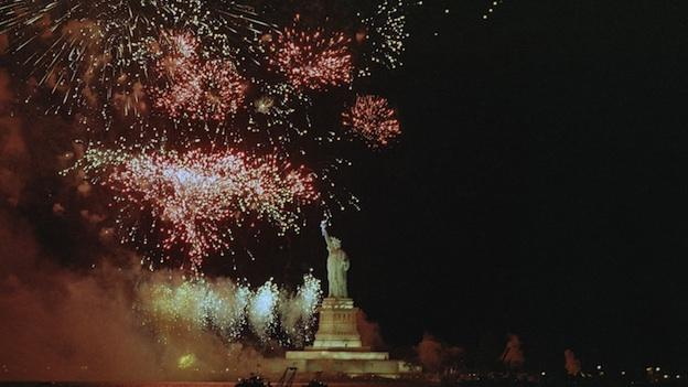The Statue of Liberty faces a barrage of fireworks at ceremonies for the reopening of the famed landmark in New York Harbor Thursday, July 3, 1986.