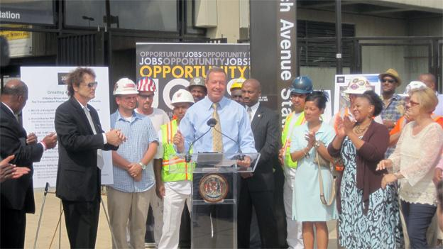 Gov. Martin O'Malley headlined the group of lawmakers trumpeting Prince George's County at the Branch Avenue Metro station today.
