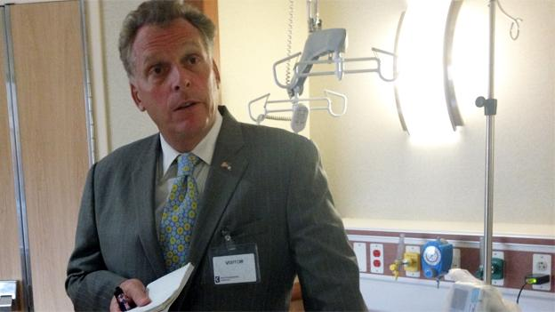 Democratic candidate Terry McAuliffe made a visit to the Inova Alexandria Hospital today.