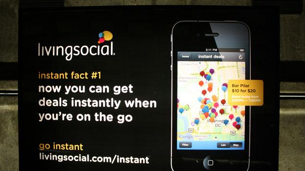 A D.C. Metro ad for a service LivingSocial rolled out in 2011. D.C. lawmakers recently struck a $33 million tax break deal with the company to keep its headquarters in the city.