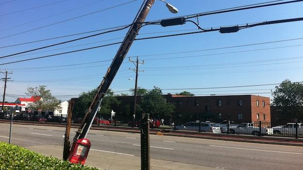 A utility pole that was knocked over by a severe thunderstorm that hit the D.C. area on June 29, 2012.