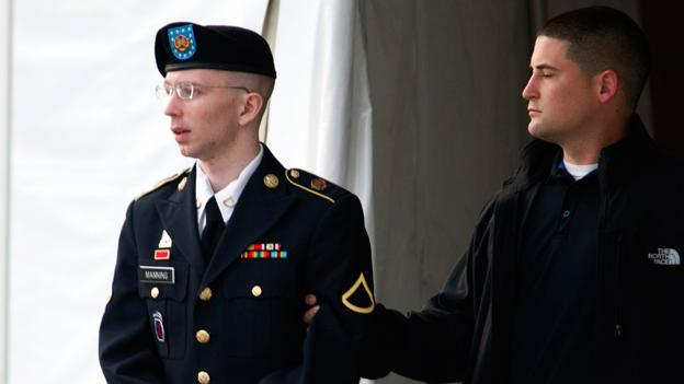Army Pfc. Bradley Manning is escorted out of a courthouse in Fort Meade, Md., Monday, July 8, 2013, after the start of the sixth week of his court martial. Manning is charged with indirectly aiding the enemy by sending troves of classified material to WikiLeaks. He faces up to life in prison.