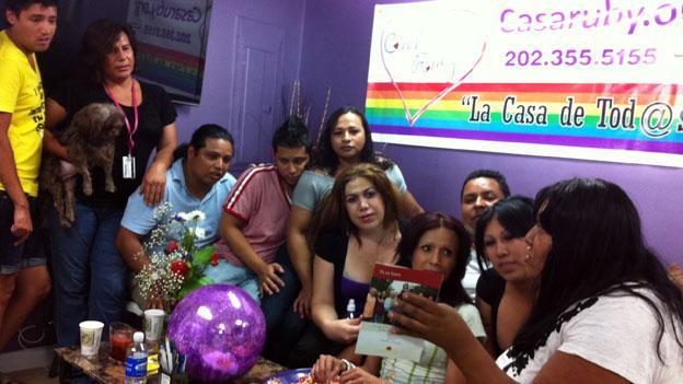 Members of Casa Ruby, a LGBT support group in D.C., goes over the new Family is Family campaign from national gay rights and Latino advocacy groups.