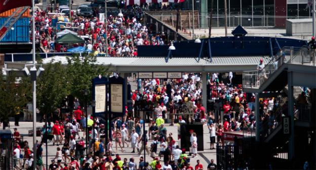 With the Nationals in first place in the NL, fans are turning out in droves, which is good for area businesses.