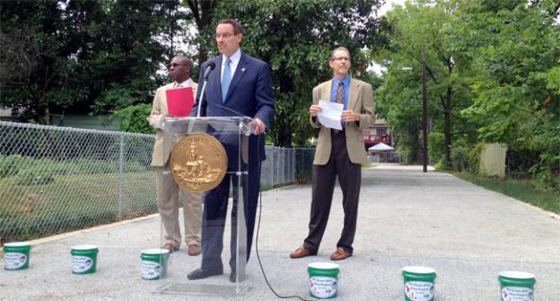 """Mayor Vincent Gray spoke about the so-called """"shadow campaign"""" during a press conference on the new Green Alley program early Wednesday."""