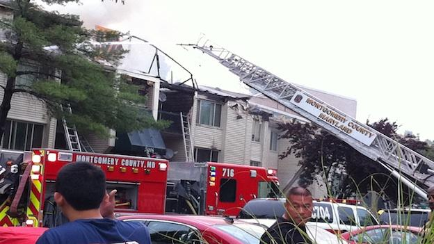 Montgomery County firefighters responded to a two-alarm fire at an apartment building in Silver Spring Friday morning.