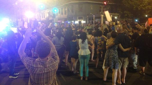 Protesters marched in Adams Morgan Saturday night, after the acquittal of George Zimmerman in the murder of 17-year-old Trayvon Martin.