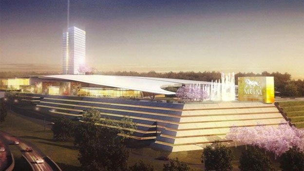 A rendering of the proposed MGM Casino at National Harbor.