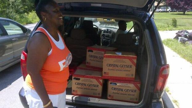 Forestville, Md., resident Alicia Adams-Jackson stocked up on 42 gallons of water.