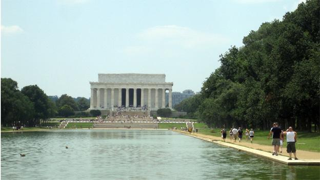 The reflecting pool offers no reprieve from the heat.