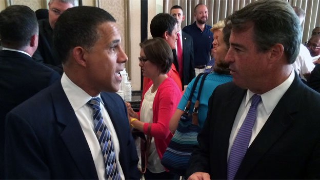 Maryland Lt. Gov. Anthony Brown and Attorney General Doug Gansler put aside their electoral sparring for a Democratic unity breakfast Wednesday.