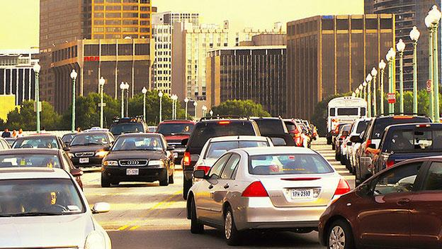 Rush hour traffic fills the Key Bridge between D.C. and Virginia in 2009. Now, Congress may consider allowing the District to impose a commuter tax on those who live in Virginia (or Maryland) and work in the Washington.
