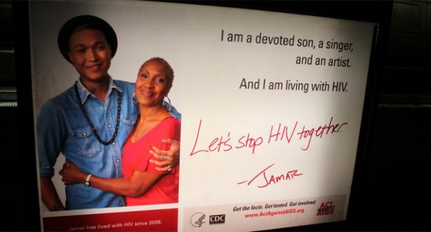 The group Act Against AIDS has posted several ads, like this one at Gallery Place, in advance of the conference.