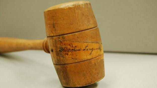 Speaker of the House Nicholas Longworth used this gavel, ca. 1929. You can see his signature (which someone covered with clear tape) on the head.
