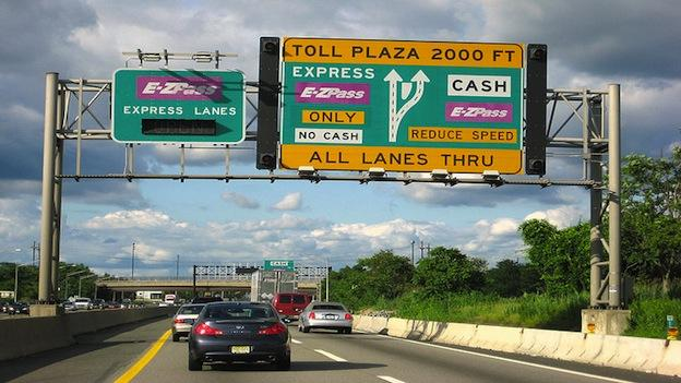 Cars using the E-ZPass express lanes as they approach the New Jersey Turnpike.