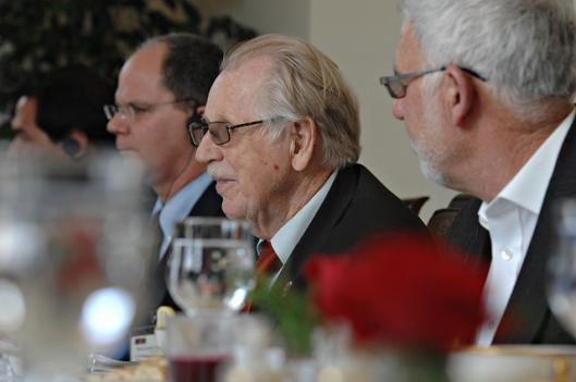 Rep. Roscoe Bartlett shown here in March 2011 at a lunch in Kabul, Afghanistan. Bartlett is in a tough race to keep his seat against Democrat John Delaney.