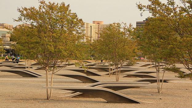 The 9/11 Memorial outside the Pentagon, which consists of benches representing each life lost there that day interspersed with trees. Children of military families based at nearby Marine Corps Base Quantico say they think about 9/11 constantly, especially when their parents are deployed.
