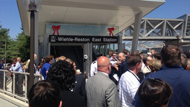 The Wiehle-Reston East station was swamped for the first public rides on the new Silver Line.