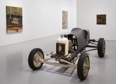 Installation view of Salvatore Scarpitta: Traveler at the Hirshhorn Museum and Sculpture Garden, Smithsonian Institution, Washington DC, 2014. Front: Sal Cragar, 1969. Rear, left to right: Racer's Pillow, 1963; Moby Dick (Extramural-Composition n. 3), 1958; and Drummer Sergeant, 1963.
