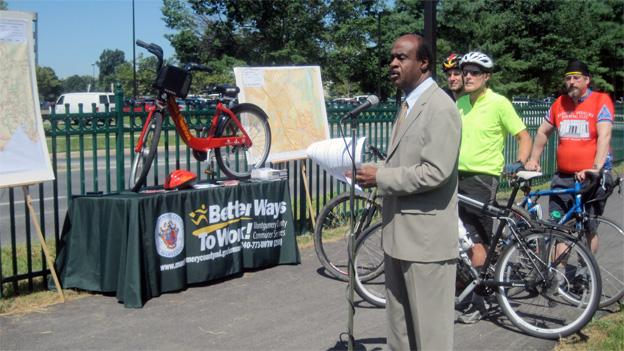 Montgomery County Executive Isiah Leggett spoke at the opening of the Shady Grove bike path.