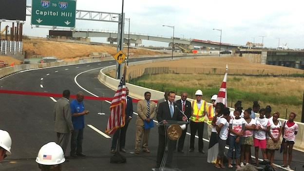 Mayor Vincent Gray speaks at a ribbon cutting ceremony for the a new ramp connecting the Anacostia Freeway and the 11th Street Bridge.