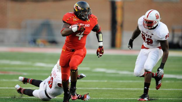 Maryland running back Wes Brown (4) carries the ball against North Carolina State in College Park, Md.