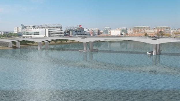 A rendering of the proposed Frederick Douglass Memorial Bridge across the Anacostia River.