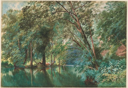 Trees over the River Frome at Stapleton, 1862, watercolor and gouache on wove paper by James Jackson Curnock.