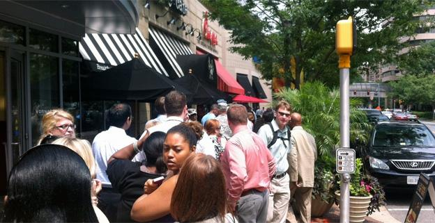 "The Chick-fil-A in Crystal City, Va. was overflowing on Wednesday for ""Chick-fil-A Appreciation Day."""