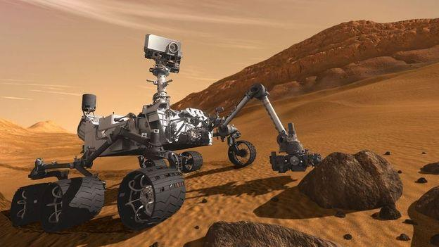 Mmm, nice rock! This rover's looking for secrets to the history of life on Mars.