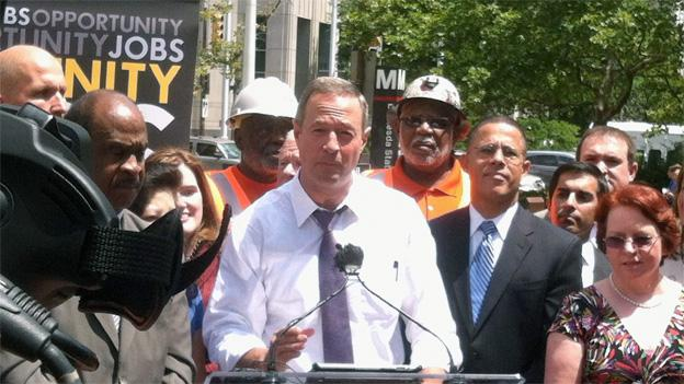 Gov. Martin O'Malley held his Purple Line press conference Monday outside the Bethesda Metro station.