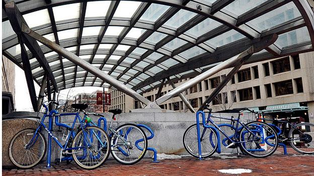 Bikes locked up at the Dupont Circle Metro station. Metro saw a 3 percent rise in people biking to Metro last year, and now is looking at ways to provide more bike parking at heavilytrafficked stations.