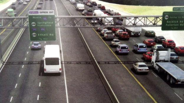 A rendering of what the High Occupancy Toll lanes on Interstate-95 in Northern Virginia will look like when complete.