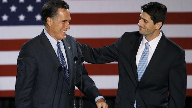 In this April 3, 2012 file photo, House Budget Committee Chairman Rep. Paul Ryan, R-Wis. introduces Republican presidential candidate, former Massachusetts Gov. Mitt Romney before Romney spoke at the Grain Exchange in Milwaukee.