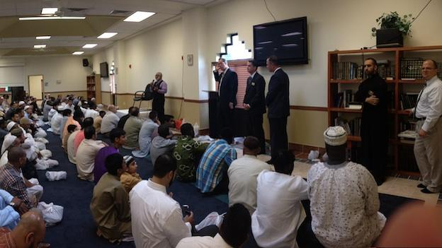 Candidates for office speak at Dar Alnoor Islamic Community Center in Manassas, Va.