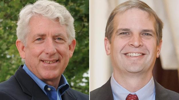 Mark Herring, left, is the Democratic candidate for the AG office, opposed by Mark Obenshain, right.