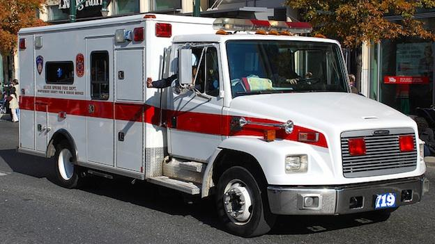 A Montgomery County ambulance parked in downtown Silver Spring.