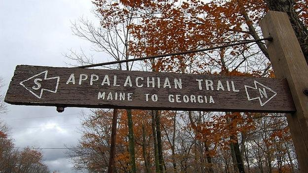 A sign along the Appalachian Trail.
