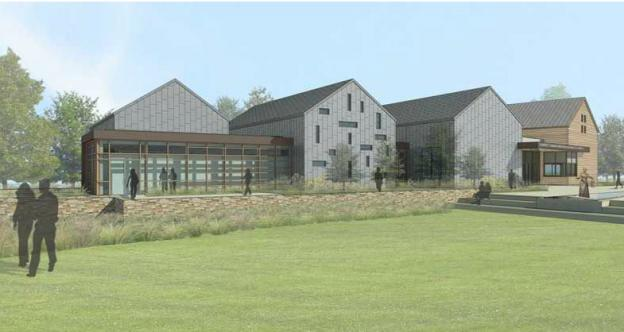 A rendering of the proposed Harriet Tubman visitors center at Maryland's  Harriet Tubman State Park. The state of Maryland just received an $8.5  million grant toward the building of the center.