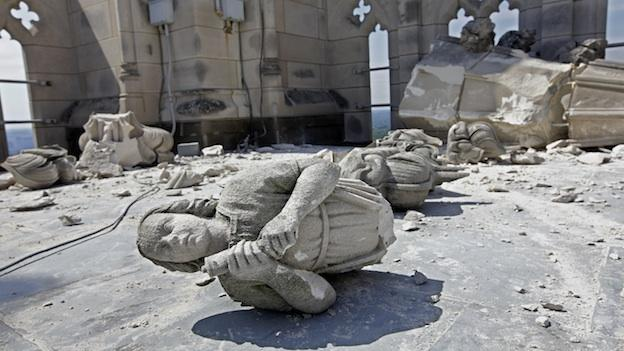 In this Aug. 24, 2011, file photo, damage to the Washington National Cathedral is seen the day after a earthquake shook Washington and much of the East Coast.