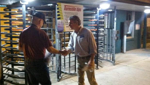 Incumbent Rep. Scott Rigell (R-Va.) greets workers showing at work bright and early to the Newport News Shipbuilding plant.