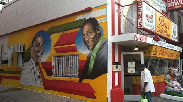 A new mural by artist Aniekan Udofia painted on the side of Ben's Chili Bowl in Washington, D.C.