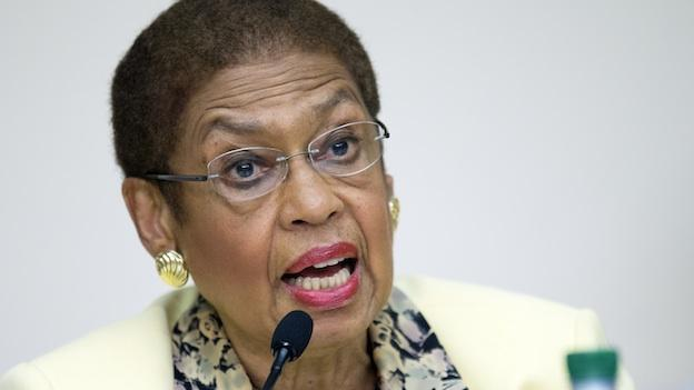 "Del. Eleanor Holmes Norton, D-D.C., co-chair of the Congressional Caucus on Black Men and Boys, speaks on Capitol Hill Washington, Wednesday, July 24, 2013, during a forum entitled ""The Status of Black Males: Ensuring Our Boys Mature Into Strong Men."""
