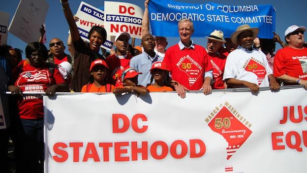 Supporters of D.C. statehood rallied ahead of the March on Washington.