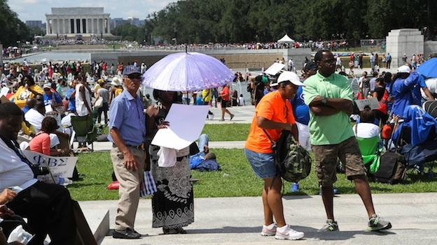 The crowds at the 50th anniversary march stretched from the Lincoln Memorial to the World War II Memorial.